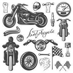 Motorcycle chopper, front and side, motorcycle driver, monochrome icon set with objects and attributes of motorbike, vector illustration. Racing helmet, piston, spark plug, wheel, headlamp, flag.
