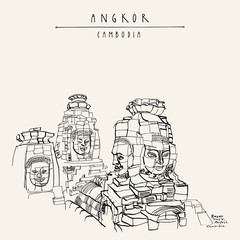 Smiling faces of Bayon temple in Angkor archeological site, Cambodia, Asia. Travel sketch. Vintage handdrawn touristic postcard, poster, book illustration