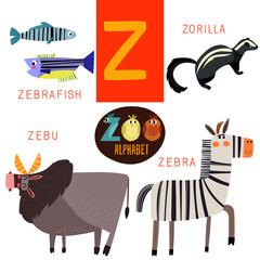 Cute zoo alphabet in vector.Z letter.