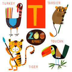 Cute zoo alphabet in vector.T letter.