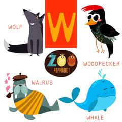 Cute zoo alphabet in vector.W letter.