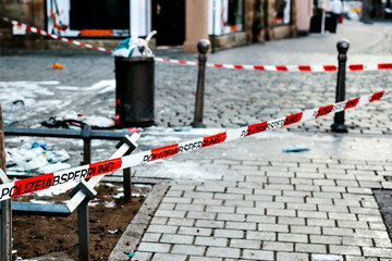 Police tape at the crime scene. Germany.