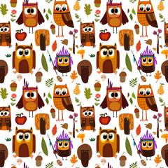 Bright childish seamless pattern with owls