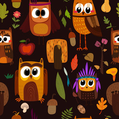 Bright childish seamless pattern with owls in trees and flowers