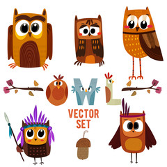 Cute owls colorful collection.