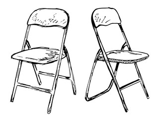 Two folding chairs on a white background isolation. Vector illustration in a sketch style.