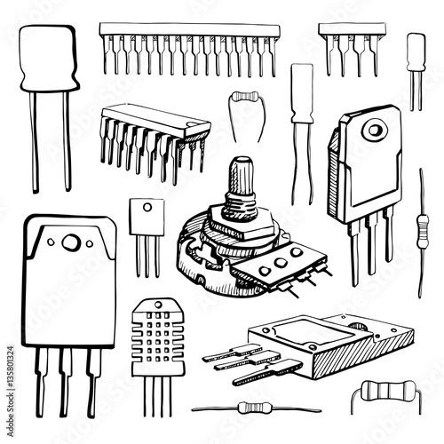 u0026quot electronic components  microcontroller  capacitor  potentiometer  transistor  resistor  sensor