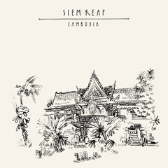 Siem Reap, Cambodia. Hotel in traditional Khmer architectural style. Tropical plants, trees. Vintage touristic postcard with grungy artistic hand drawing