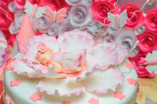 Big Beautiful Birthday Cake For A Little Girl First Day Of The