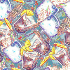Watercolor seamless pattern. Mug of cocoa with cream and marshma