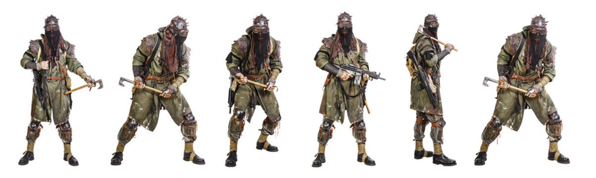 Set of nuclear post apocalypse survivors with homemade weapons and cold steel on white background. Life after doomsday concept