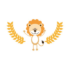 cute lion cartoon icon vector illustration graphic design