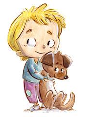 niño abrazando un perro