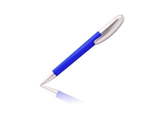 Blue pen isolated on white background