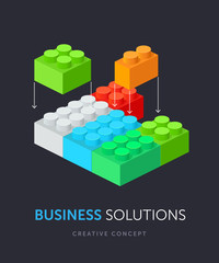Business solution flat isometric concept. Vector illustration of plastic building blocks.
