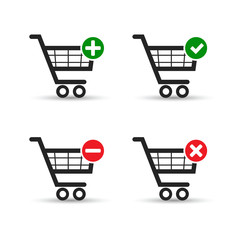 Shopping cart e-commerce vector icon set.