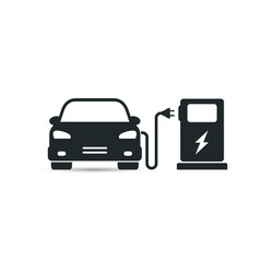 Electric car in refill icon, vector.