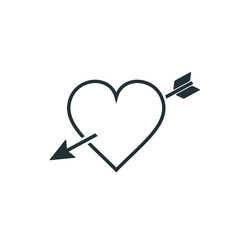 Arrow heart line icon. Vector.