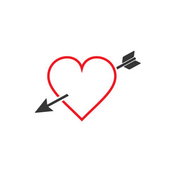 Arrow heart icon outline. Vector.