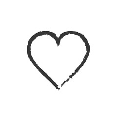 Heart grunge icon love black symbol. Vector.