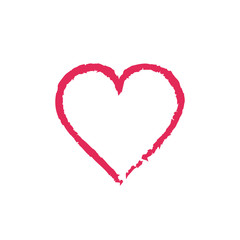Heart grunge icon love red symbol. Vector.