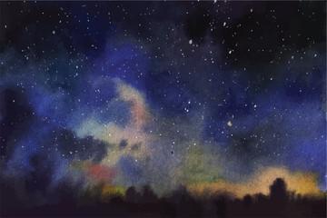 Watercolor universe Sky, stars, deep space Violet, blue, fantasy background