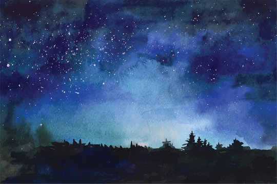 Watercolor vector background Space, stars, constellation, nebula