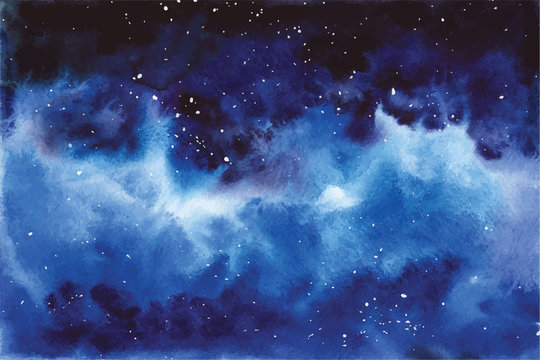 Watercolor universe Sky, stars, deep space Violet, blue, fantasy background