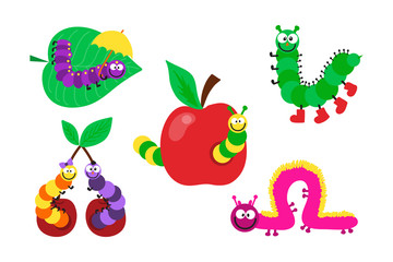 Cartoon caterpillar insect vector illustration.