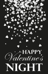 simple card for Valentine s day. Black and white style, falling hearts. Design element, poster.