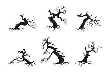 Silhouette of the old broken tree on a white background. Black d