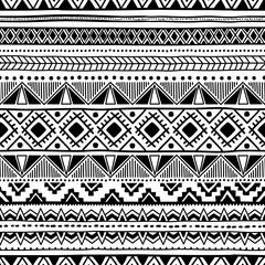Seamless ethnic pattern. Black and white geometric ornament. Pri