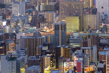 Osaka city business downtown aerial view, Japan