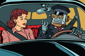 Vintage retro robot autopilot car, woman passenger in unmanned v