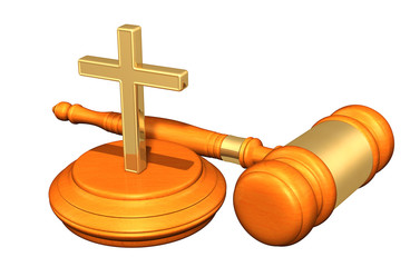 Christianity Law Gavel Concept 3D Illustration