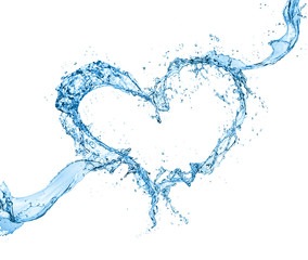 heart water splash isolate on white background.