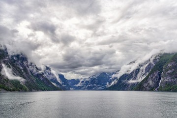 The entrance of Naeroyfjord in southern Norway. This narrow fjord is a branch of the large Sognefjord, and has been listed as a UNESCO World Heritage Site in 2005