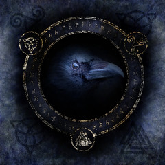 Celtic Raven Spell with a sinister raven head materialising within a circular emblem of elaborate Celtic, pagan and runic symbols.