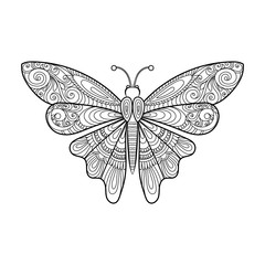 vector decorative butterfly coloring page