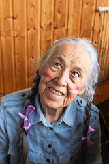 Old woman with long gray hair