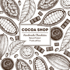 Card design template with cocoa beans. Vintage vector illustration