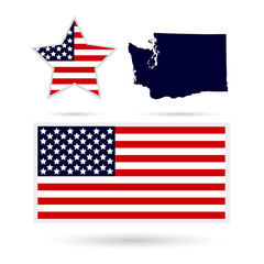 Map of the U.S. state of Washington on a white background. Ameri