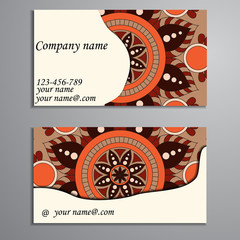 Invitation, business card or banner with text template. Round fl
