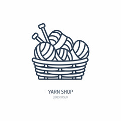 Knitting shop line logo. Yarn store flat sign, illustration of wool skeins with knitting needles.