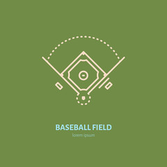 Baseball softball vector line icon. Field logo, equipment sign. Sport competition illustration.