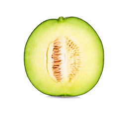 A half of green cantaloupe melon isolated on white background.