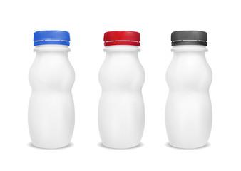 White empty plastic bottle for yogurt. Packaging for sour cream,