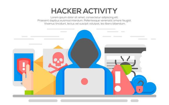 Hacker internet computer security flat concept.
