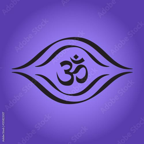 Aum Third Eye Symbol Yoga Meditation Chakra Stock Image And