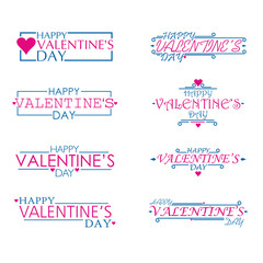Square and line Happy Valentines Day set, flat and cute Vector Design Isolated on white Background